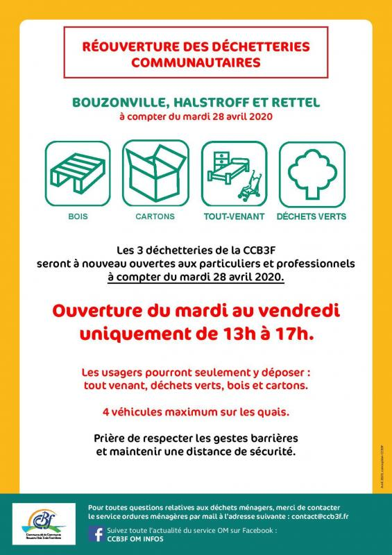 Affiche reouverture dechetteries communautaires page 001
