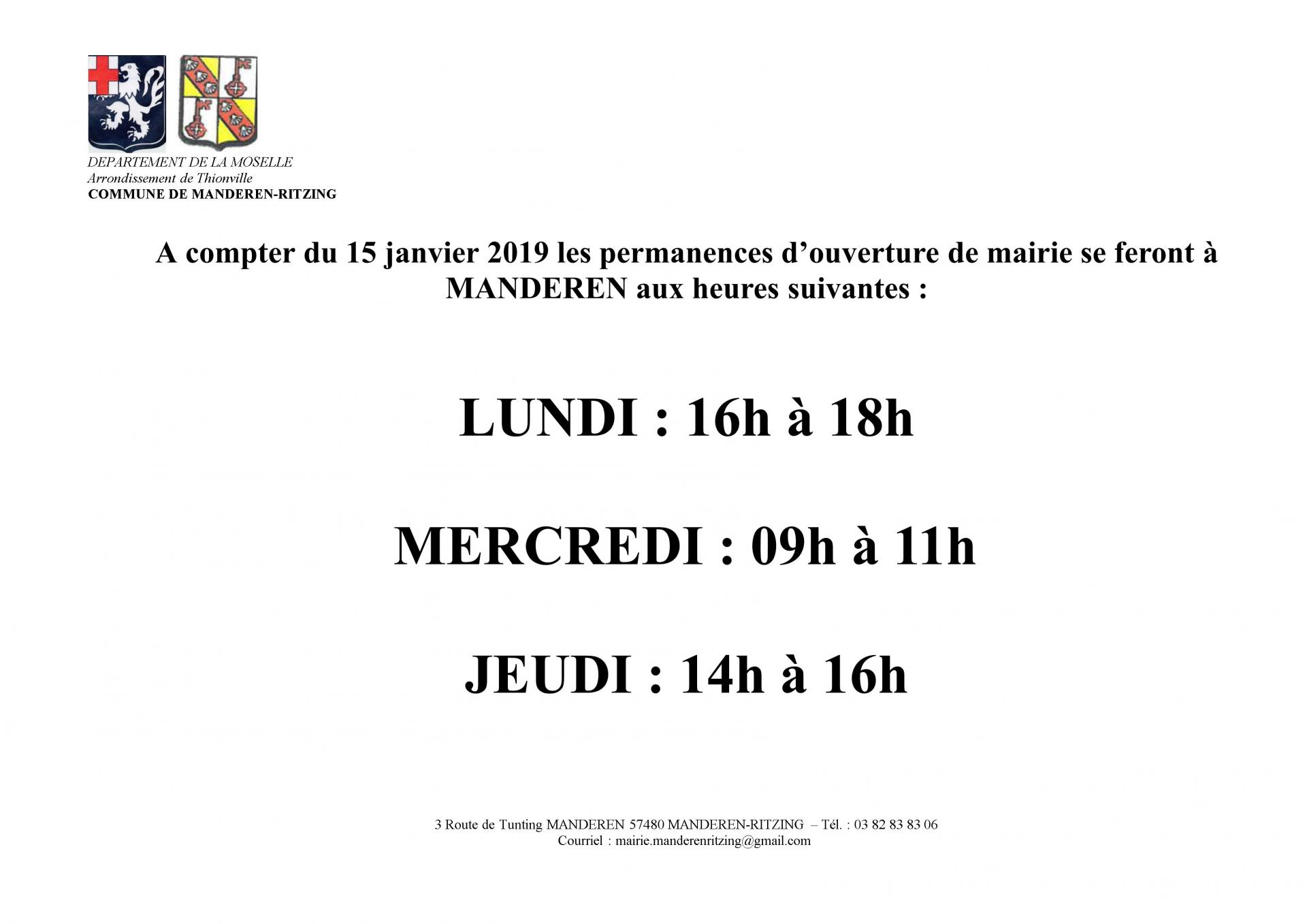Horaires mairie 2